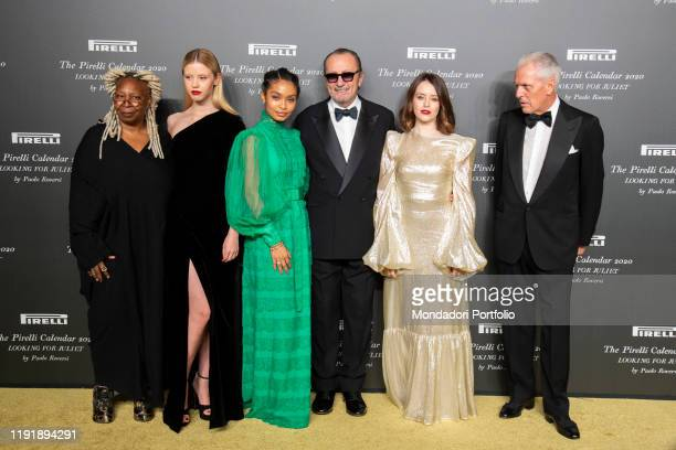 Claire Foy, Marco Tronchetti Provera, Keri Shahidi, Mia Goth, Paolo Roversi and Whoopi Goldberg during the presentation of the Pirelli 2020 Calendar...