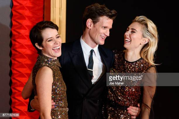 Claire Foy Matt Smith and Vanessa Kirby attend the World Premiere of season 2 of Netflix 'The Crown' at Odeon Leicester Square on November 21 2017 in...