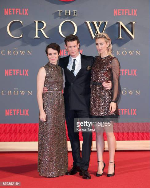 Claire Foy Matt Smith and Vanessa Kirby attend the World Premiere of Netflix's The Crown Season 2 at Odeon Leicester Square on November 21 2017 in...