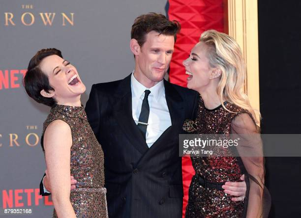 Claire Foy Matt Smith and Vanessa Kirby attend the World Premiere of Netflix's 'The Crown' Season 2 at Odeon Leicester Square on November 21 2017 in...