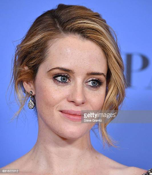 Claire Foy poses at the 74th Annual Golden Globe Awards at The Beverly Hilton Hotel on January 8 2017 in Beverly Hills California