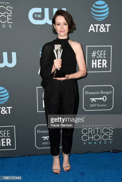 Claire Foy poses in the press room during the 24th annual Critics' Choice Awards at Barker Hangar on January 13, 2019 in Santa Monica, California.