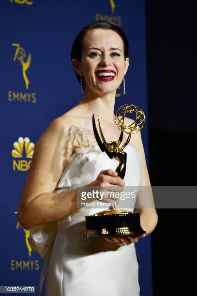 Claire Foy poses in the press room during the 70th Emmy Awards at Microsoft Theater on September 17 2018 in Los Angeles California