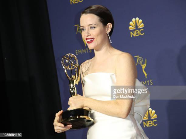 Claire Foy poses with the Outstanding Lead Actress in a Drama Series award for 'The Crown' in the press room on September 17 2018 in Los Angeles...