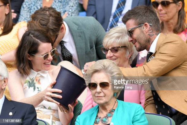 Claire Foy, Sandra Beckham and David Beckham attend day 10 of the Wimbledon Tennis Championships at the All England Lawn Tennis and Croquet Club on...