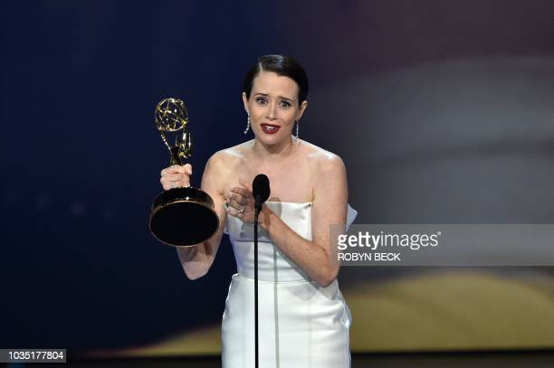 Claire Foy speaks onstage after winning an Emmy for Lead actress in a drama series during the 70th Emmy Awards at the Microsoft Theatre in Los...