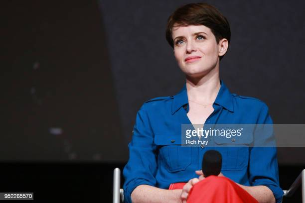 Claire Foy speaks onstage during the For Your Consideration event for Netflix's The Crown at Saban Media Center on April 27 2018 in North Hollywood...
