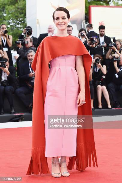 Claire Foy walks the red carpet ahead of the opening ceremony and the 'First Man' screening during the 75th Venice Film Festival at Sala Grande on...