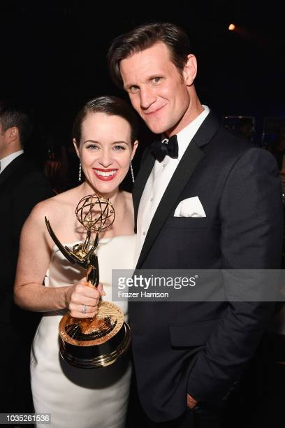 Claire Foy winner of accepts the Outstanding Lead Actress in a Drama Series award for 'The Crown' and Matt Smith attend the 70th Emmy Awards...
