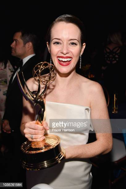 Claire Foy winner of the Outstanding Lead Actress in a Drama Series award for 'The Crown' attends the 70th Emmy Awards Governors Ball at Microsoft...