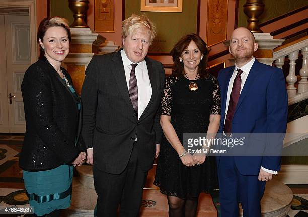 Claire Geveaux Boris Johnson Anita Zabludowicz and Richard Robinson attend a dinner hosted by John Caudwell on March 5 2014 in London England