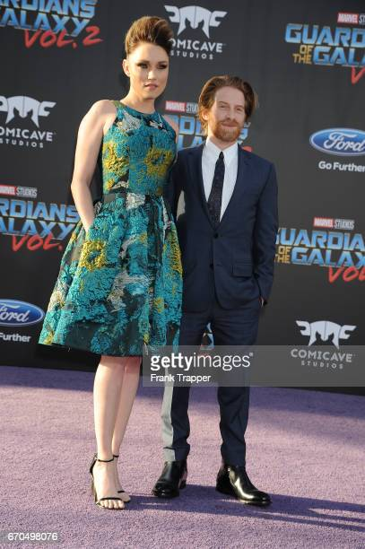 Claire Grant and actor Seth Green attend the premiere of Disney and Marvel's 'Guardians Of The Galaxy Vol 2' at the Dolby Theatre on April 19 2017 in...