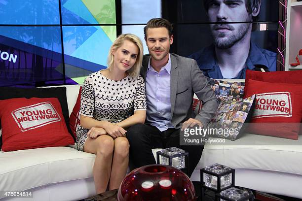 Claire Holt and Grey Damon at the Young Hollywood Studio on May 22 2015 in Los Angeles California