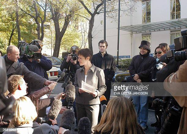 Claire Hornick director of operations for the Hospital of St John and St Elizabeth speaks to reporters outside the hospital 30 October 2003 She...