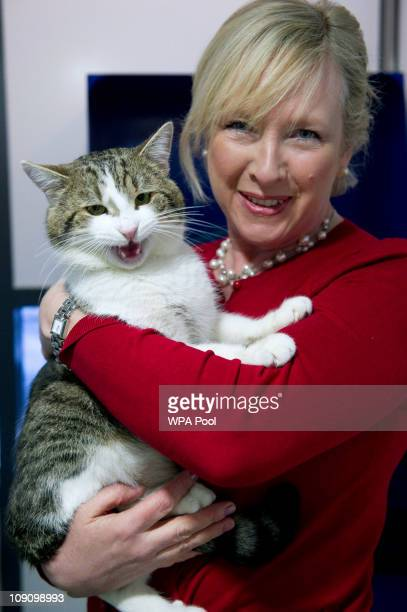 Claire Horton, CEO of Battersea Dogs and Cats Home in London, holds the new Downing Street cat 'Larry' before he is taken to the Prime Ministers...
