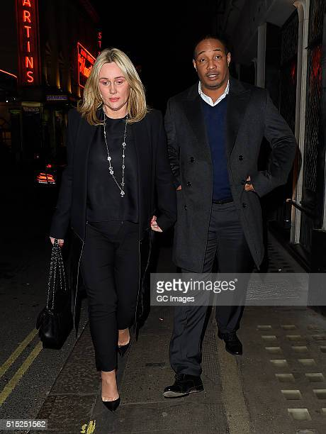 Claire Ince and Paul Ince leave The Ivy Club in Covent Garden on March 12 2016 in London England