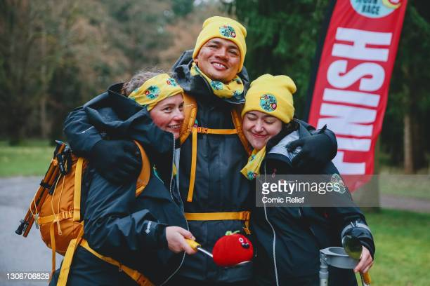 Claire, Jermaine Jenas and Emily celebrate as they cross the finish line on day 3 of The One Show's Red Nose and Spoon Race. Alex Scott and Jermaine...
