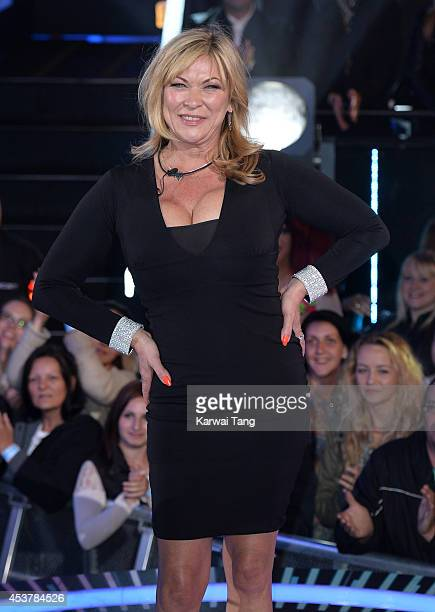Claire King enters the Celebrity Big Brother house at Elstree Studios on August 18 2014 in Borehamwood England