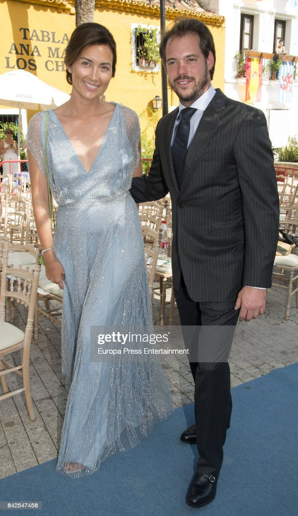 Claire Lademacher and Felix of Luxemburgo are seen attending the wedding of Marie-Gabrielle of Nassau and Antonius Willms on September 2, 2017 in Marbella, Spain.