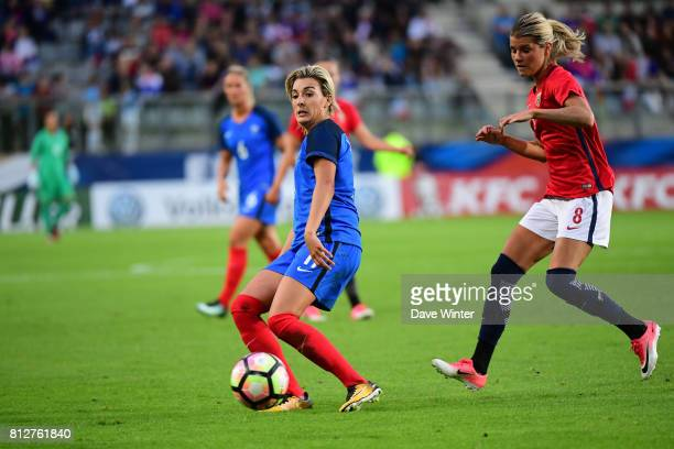 Claire Lavogez of France and Andrine Stolsmo Hegerberg of Norway during the women's international friendly match between France and Norway on July 11...