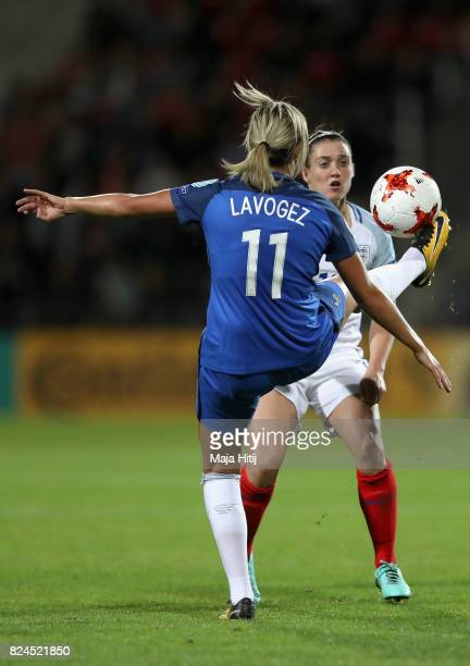 Claire Lavogez of France and Jade Moore of England battle for possession during the UEFA Women's Euro 2017 Quarter Final match between France and...