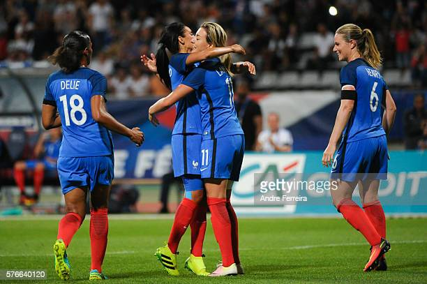 Claire Lavogez of France celebrates her goal with Louisa Cadamuro of France during Female International friendly match between France and China at...