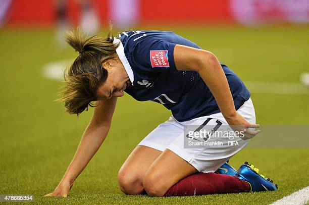 Claire Lavogez of France looks dejected during the quarter final match of the FIFA Women's World Cup between Germany and France at Olympic Stadium on...
