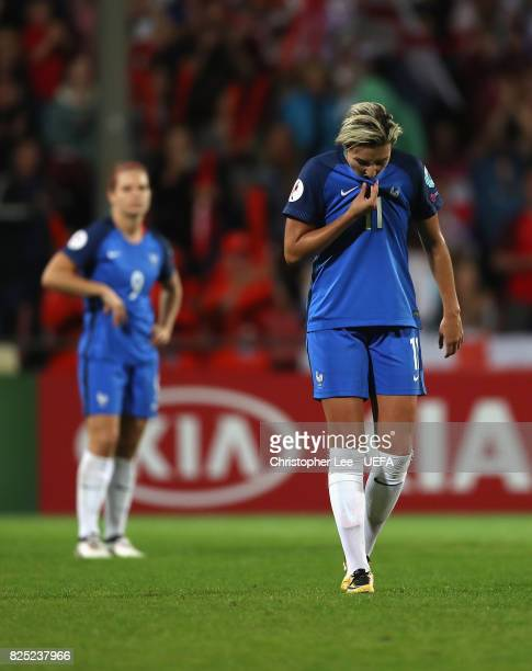 Claire Lavogez of France looks dejected with Eugenie Le Sommer of France after they lose during the UEFA Women's Euro 2017 Quarter Final match...