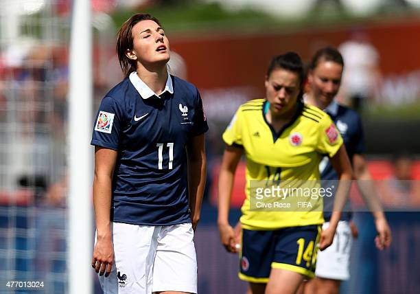 Claire Lavogez of France reacts during the FIFA Women's World Cup 2015 Group F match between France and Colombia at Moncton Stadium on June 13 2015...