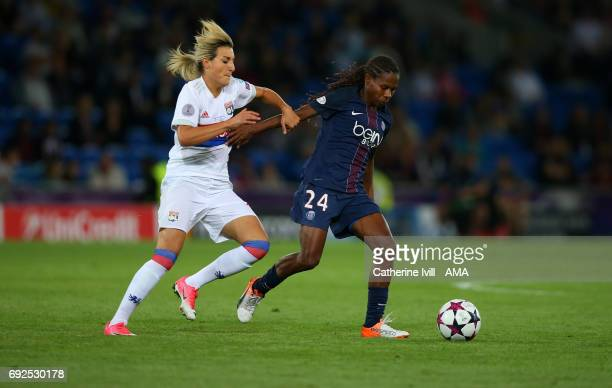Claire Lavogez of Olympique Lyonnais and Formiga of PSG during the UEFA Women's Champions League Final match between Lyon and Paris Saint Germain at...