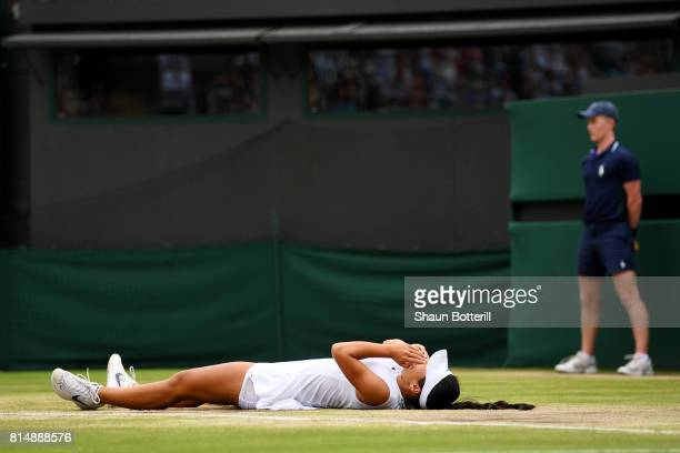 Claire Liu of the United States celebrates match point and victory after the Girl's Singles final match against Ann Li of the United States on day...