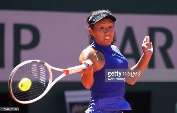 Claire Liu of The United States plays a forehand during the girls singles final match against Whitney Osuigwe of The United States on day fourteen of...