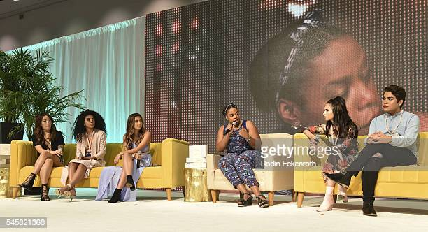 Claire Marshall Jasmine Brown Adelaine Morin Beautycon panel moderator Wynter Mitchell Laura Sanchez and Alannized speak on panel at the 4th Annual...