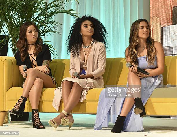 Claire Marshall Jasmine Brown and Adelaine Morin speak onstage at the 4th Annual Beautycon Festival Los Angeles at Los Angeles Convention Center on...
