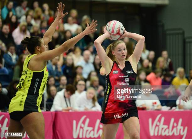 Claire Maxwell of Strathclyde Sirens takes on Laura Malcolm of Manchester Thunder during the Vitality Netball Superleague match between Strathclyde...