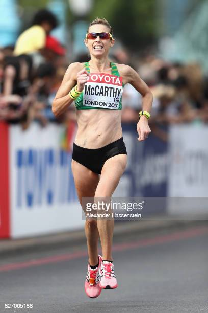 Claire McCarthy of Ireland competes in the Women's Marathon during day three of the 16th IAAF World Athletics Championships London 2017 at The London...