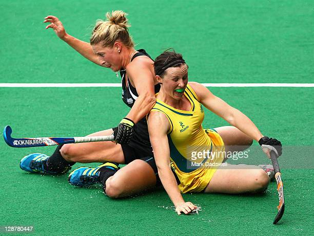 Claire Messent of the Hockeyroos competes with Sophie Devine of the Blacksticks during the Oceania Cup match between New Zealand and Australia at...