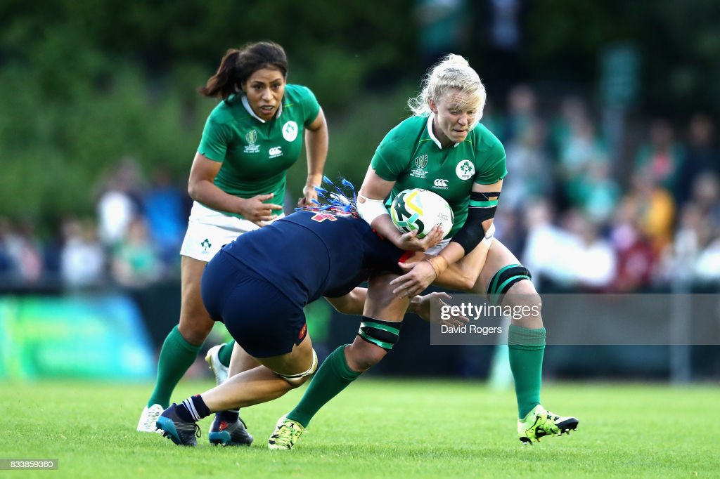 Claire Molloy of Ireland is tackled by Lenaig Corson of France during the Women's Rugby World Cup Pool C match between France and Ireland at UCD Bowl on August 17, 2017 in Dublin, Ireland.
