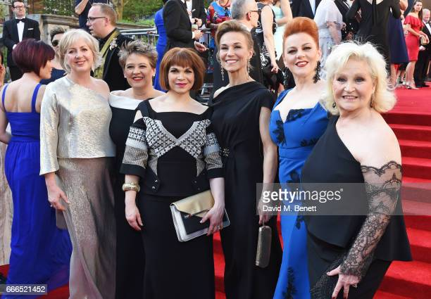 Claire Moore Claire Machin Debbie Chazen Joanna Riding SophieLouise Dann and Michele Dotrice of 'The Girls' attend The Olivier Awards 2017 at Royal...
