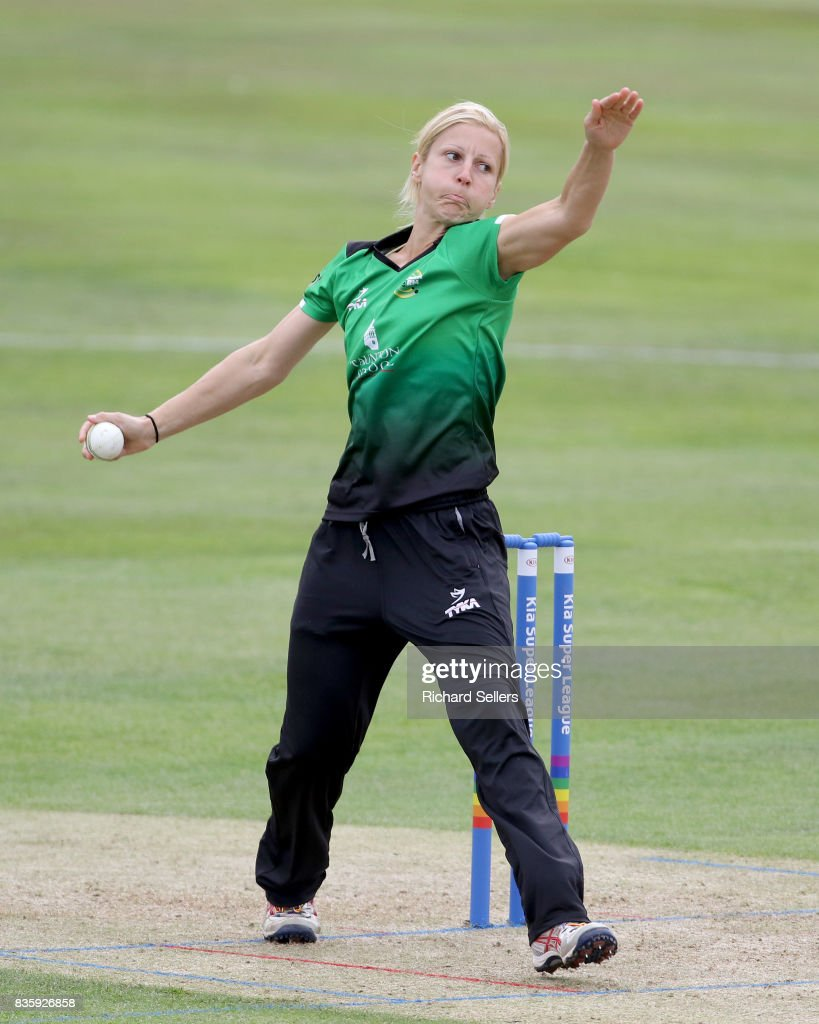 Claire Nicholas of Western Storm bowling during the Kia Super League between Yorkshire Diamonds v Western Storm at York on August 20, 2017 in York, England.