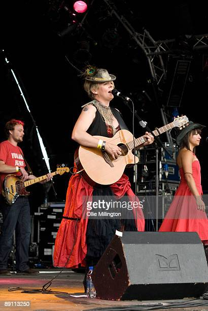 Claire Nicholson performs on stage on the first day of Guilfest '09 at Stoke Park on July 10 2009 in Stoke Poges England
