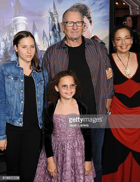 Claire O'Neill actor Ed O'Neill Sophia O'Neill and actress Catherine Rusoff attend the opening of The Wizarding World of Harry Potter at Universal...