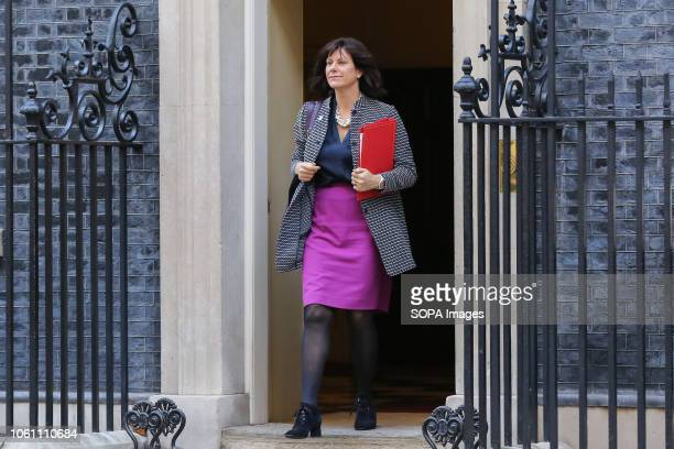 Claire Perry Minister of State at Department for Business Energy and Industrial Strategy seen departing from No 10 Downing Street after attending the...