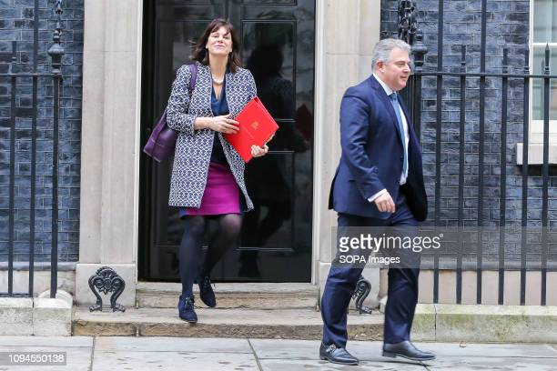 Claire Perry Minister of State at Department for Business Energy and Industrial Strategy and Brandon Lewis Tory party chairman are seen departing...