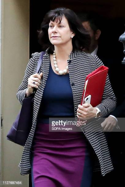 Claire Perry Minister of State at Department for Business Energy and Industrial Strategy is seen departing from No 10 Downing Street after attending...