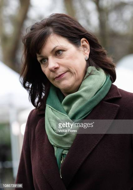 Claire Perry MP Minister of State for Energy and Clean Growth speaks during a television interview about Brexit outside the Houses of Parliament in...