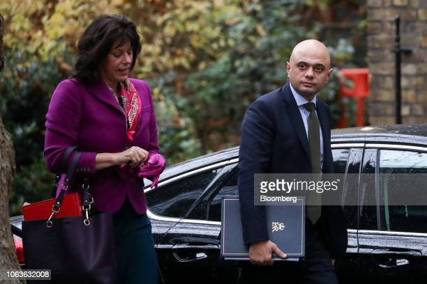 Claire Perry UK business minister left and Sajid Javid UK home secretary arrive for a weekly meeting of cabinet ministers at number 10 Downing Street...
