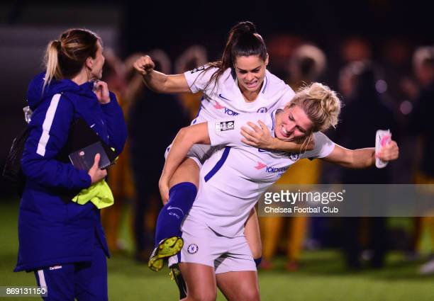 Claire Rafferty and Mille Bright of Chelsea looking cheerful after their win during a Continental Cup Match between Chelsea Ladies and Brighton Hove...