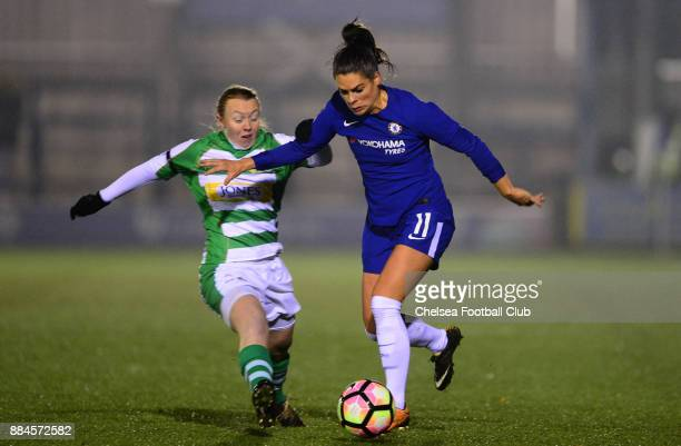 Claire Rafferty of Chelsea in action during the Continental Tyres Cup Match between Chelsea Ladies and Yeovil Ladies at The Cherry Red Records...