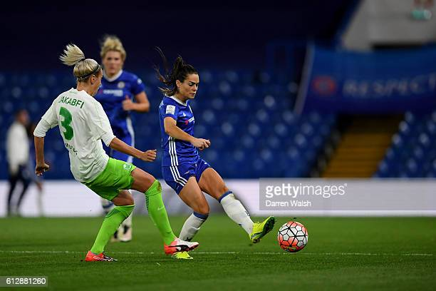 Claire Rafferty of Chelsea Ladies and Zsanett Jakabfi of Wolfsburg during a UEFA Champions League match between Chelsea Ladies and Wolfsburg at...